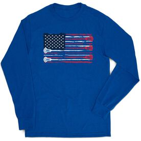 Guys Lacrosse Tshirt Long Sleeve - Amercian Flag