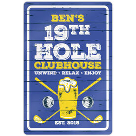 """Golf Aluminum Room Sign (18""""x12"""") 19th Hole Clubhouse"""