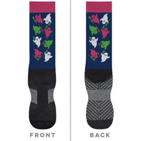 Girls Lacrosse Printed Mid-Calf Socks - Ghosts with Lacrosse Sticks