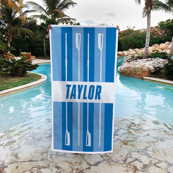 Crew Premium Beach Towel - Personalized Stripes with Oars