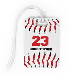 Baseball Bag/Luggage Tag - Personalized Big Number with Baseball