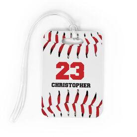 MEDIUM Personalized Baseball Stitches Baseball Luggage /& Bag Tag No Personalization on Back