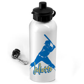 Softball 20 oz. Stainless Steel Water Bottle Personalized Softball Batter