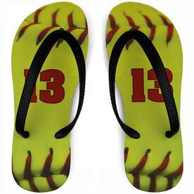 Softball Flip Flops Personalized Stitches
