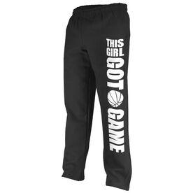 Basketball Fleece Sweatpants This Girl Got Game [Black/White/Youth Medium] - SS