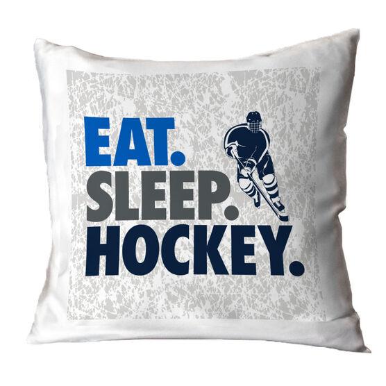 Hockey Decorative Pillow - Eat Sleep Hockey
