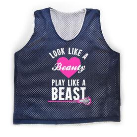 Girls Racerback Pinnie Look Like A Beauty Play Like A Beast