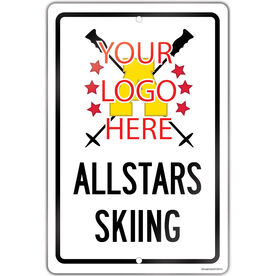 "Skiing 18"" X 12"" Aluminum Room Sign Skiing Custom Logo With Team Name"
