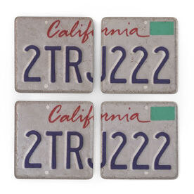 Personalized Stone Coasters Set of Four - License Plate