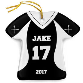 Guys Lacrosse Porcelain Ornament Personalized Jersey
