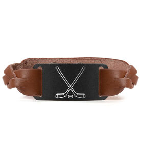 Hockey Leather Bracelet with Engraved Plate - Crossed Sticks