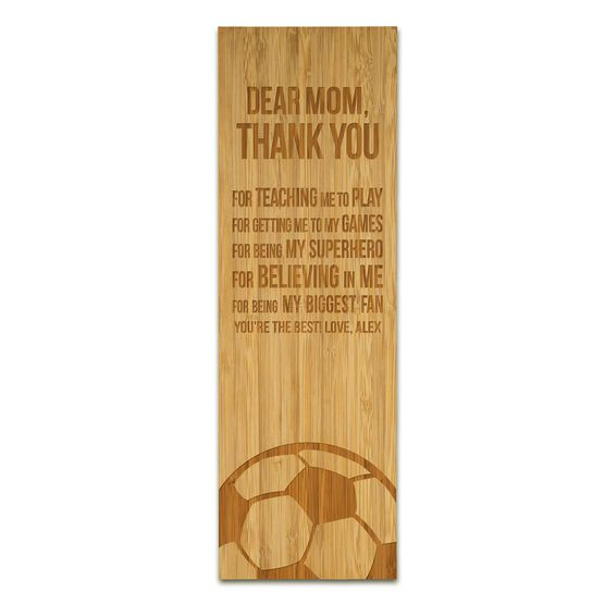 """Soccer 12.5"""" X 4"""" Engraved Bamboo Removable Wall Tile - Dear Mom"""