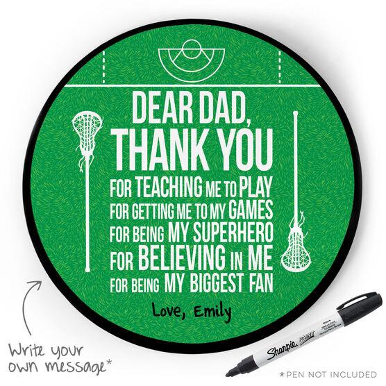 Girls Lacrosse Circle Plaque - Dear Dad
