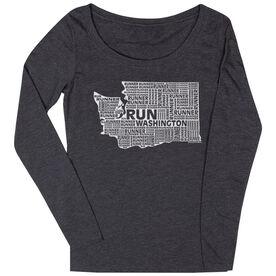Women's Scoop Neck Long Sleeve Runners Tee Washington State Runner