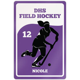 "Field Hockey Aluminum Room Sign (18""x12"") Personalized Field Hockey Team with Silhouette"
