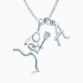 Sterling Silver Lacrosse Girl (Stick Figure) with Sterling Silver Inital Charm Necklace