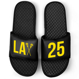 Guys Lacrosse Black Slide Sandals - Lax With Big Number