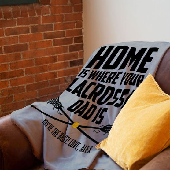 Girls Lacrosse Premium Blanket - Home Is Where Your Lacrosse Dad Is