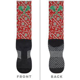 Girls Lacrosse Printed Mid-Calf Socks - Candy Canes with Lacrosse Sticks