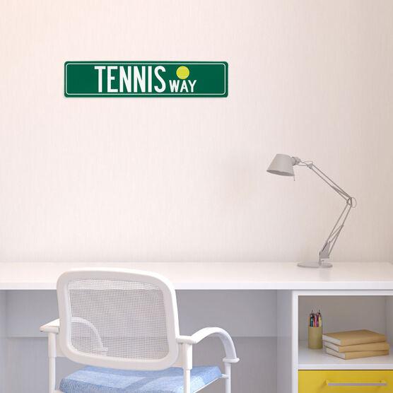 "Tennis Aluminum Room Sign - Tennis Way (4""x18"")"