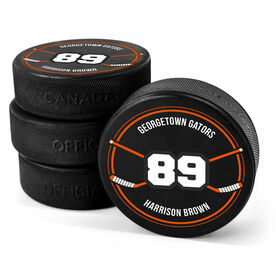 Personalized Hockey Puck - Number With Crossed Sticks