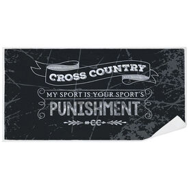 Cross Country Premium Beach Towel - Chalkboard My Sport Is Your Sport's Punishment