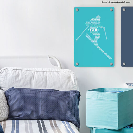 "Skiing 18"" X 12"" Aluminum Room Sign - Personalized Skiing Words"