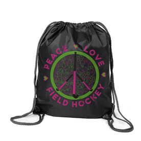 Peace Love Field Hockey (Flowers) Sport Pack Cinch Sack