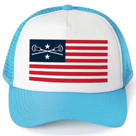 Guys Lacrosse Trucker Hat - American Flag