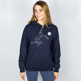 Volleyball Hooded Sweatshirt - Volleyball Girl Player Sketch