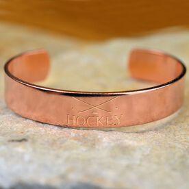 Hockey Crossed Sticks Engraved Copper Bracelet