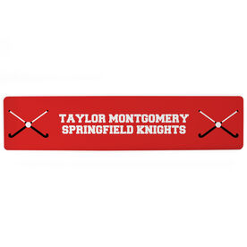"""Field Hockey Aluminum Room Sign - Team Your Text With Crossed Sticks (4""""x18"""")"""
