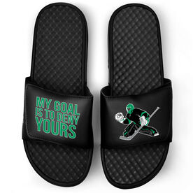 Hockey Black Slide Sandals - My Goal Is To Deny Yours