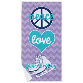 Figure Skating Premium Beach Towel - Peace Love Figure Skating
