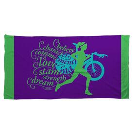 Triathlon Beach Towel Words to Run By