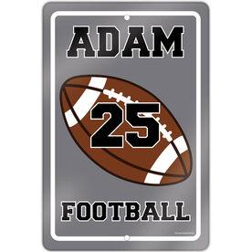 "Football 18"" X 12"" Aluminum Room Sign Personalized Football"