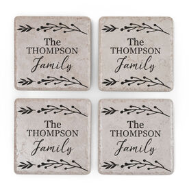 Personalized Stone Coasters Set of Four - Family Name