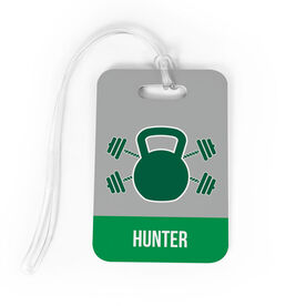 Cross Training Bag/Luggage Tag - Personalized Kettlebell & Weights