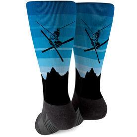 Skiing Printed Mid-Calf Socks - Airborne