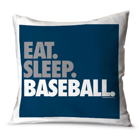 Baseball Throw Pillow Eat Sleep Baseball Bold Text