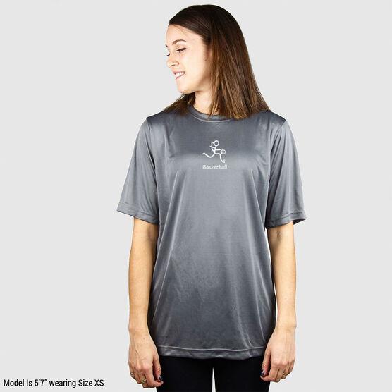Basketball Short Sleeve Performance Tee - Basketball Girl White Stick Figure with Word