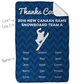 Snowboarding Sherpa Fleece Blanket - Personalized Thanks Coach Chevron