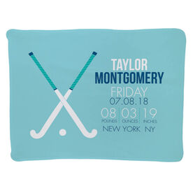 Field Hockey Baby Blanket - Birth Announcement