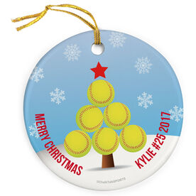 Softball Porcelain Ornament Christmas Tree