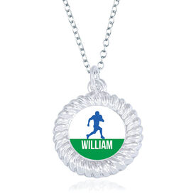Football Braided Circle Necklace - Running Back Silhouette With Name