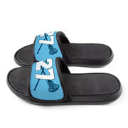 Girls Lacrosse Repwell® Slide Sandals - Crossed Sticks with Number