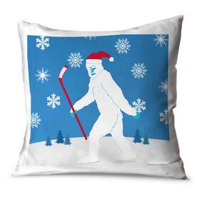 Hockey Throw Pillow Abominable Hockey Snowman