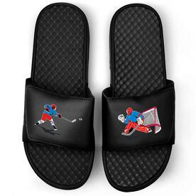 Hockey Black Slide Sandals - Go For The Goal