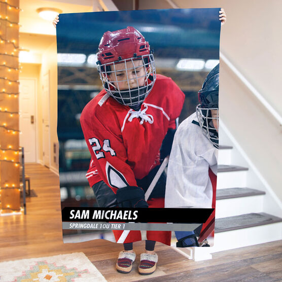Hockey Premium Blanket - Custom Hockey Player Photo