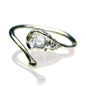 Sterling Silver Adjustable Lacrosse Stick Ring with Cubic Zirconia